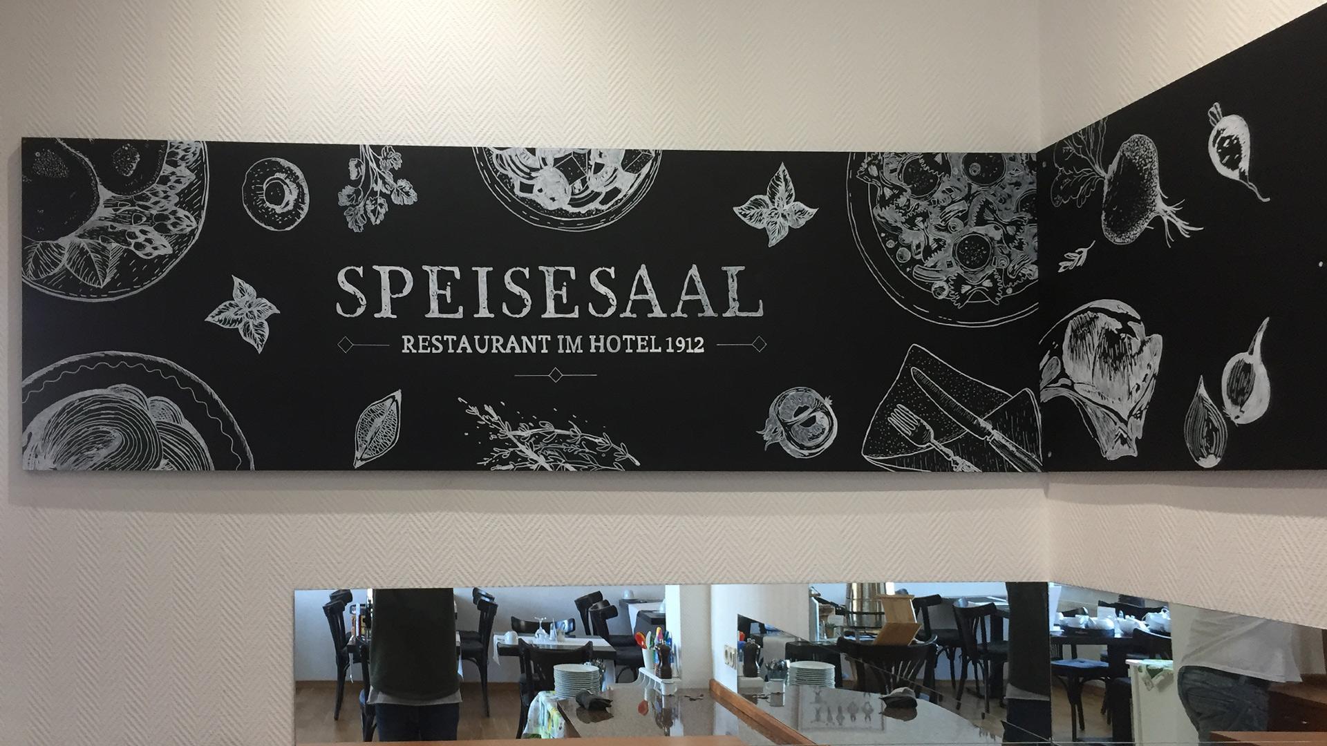 1912 Hotel – Speisesaal Restaurant – Tafel Illustration mitte